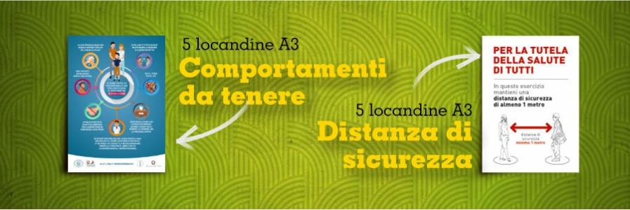 5 Locandine formato A3 – distanza di sicurezza e norme igieniche
